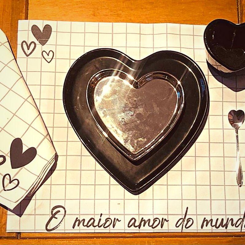 [OUTLET] Prato formato coração raso de cerâmica reto preto - Cód. ER146P [OUTLET]