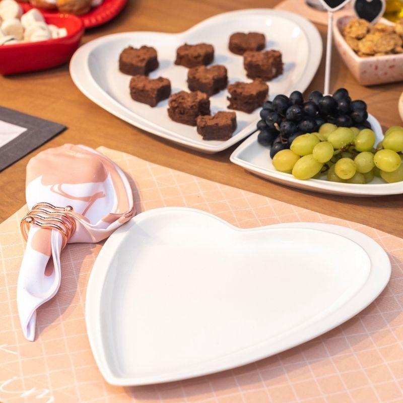 [OUTLET] Prato travessa decorativo de cerâmica branco formato coração design M - Cód. OUTOC408 [OUTLET]