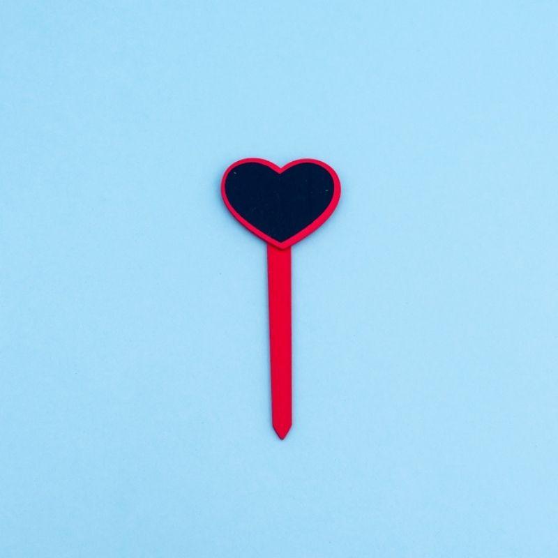 Placa lousa de madeira em formato de coração vermelho pcto c/3 und - Cód 0120