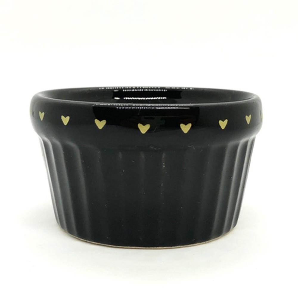 Pote estampa coração cerâmica canelado preto 100ml  - Cód.OC229