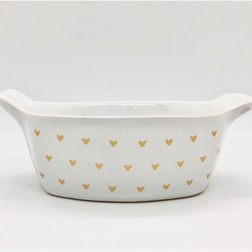 [OUTLET] Pote estampa coração de cerâmica oval - Cód.OC233 [OUTLET]