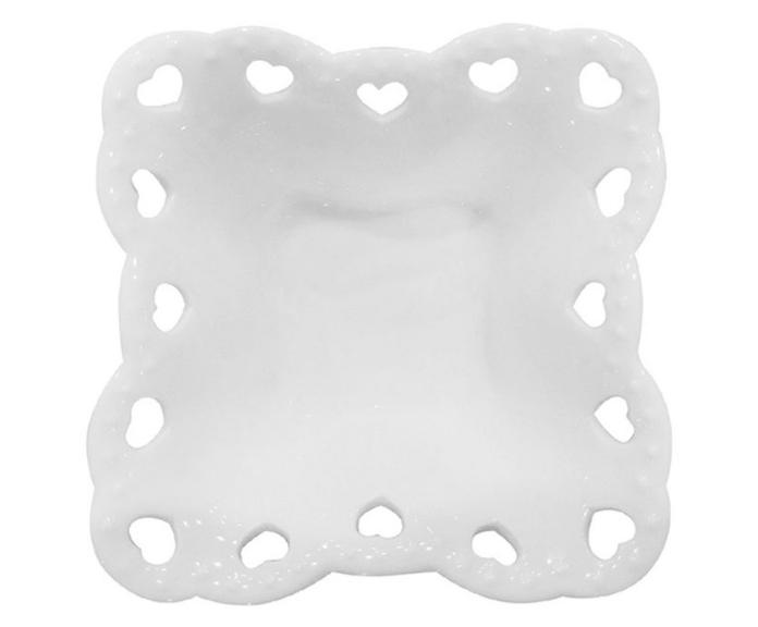 Pote de porcelana branco quadrado com borda de coração recortado - Cód 44539