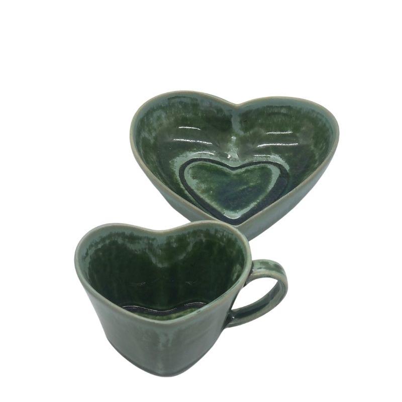 Pote de porcelana  formato coração linha premium verde Amazônia G. Cód.2354