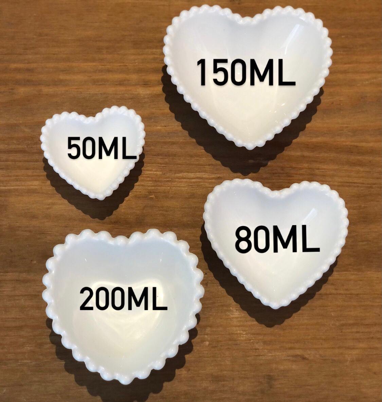 Pote formato coração com borda de bolinha 150ml - Cód.OC433