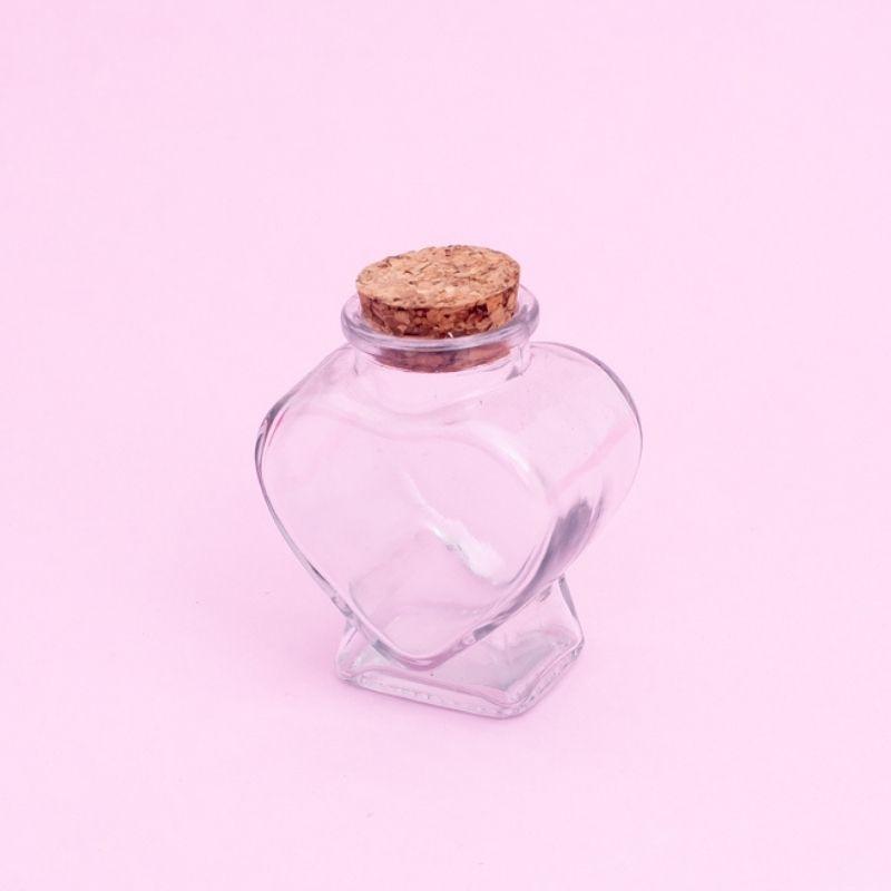 Pote formato coração de vidro com rolha 80ML - Cód 4301