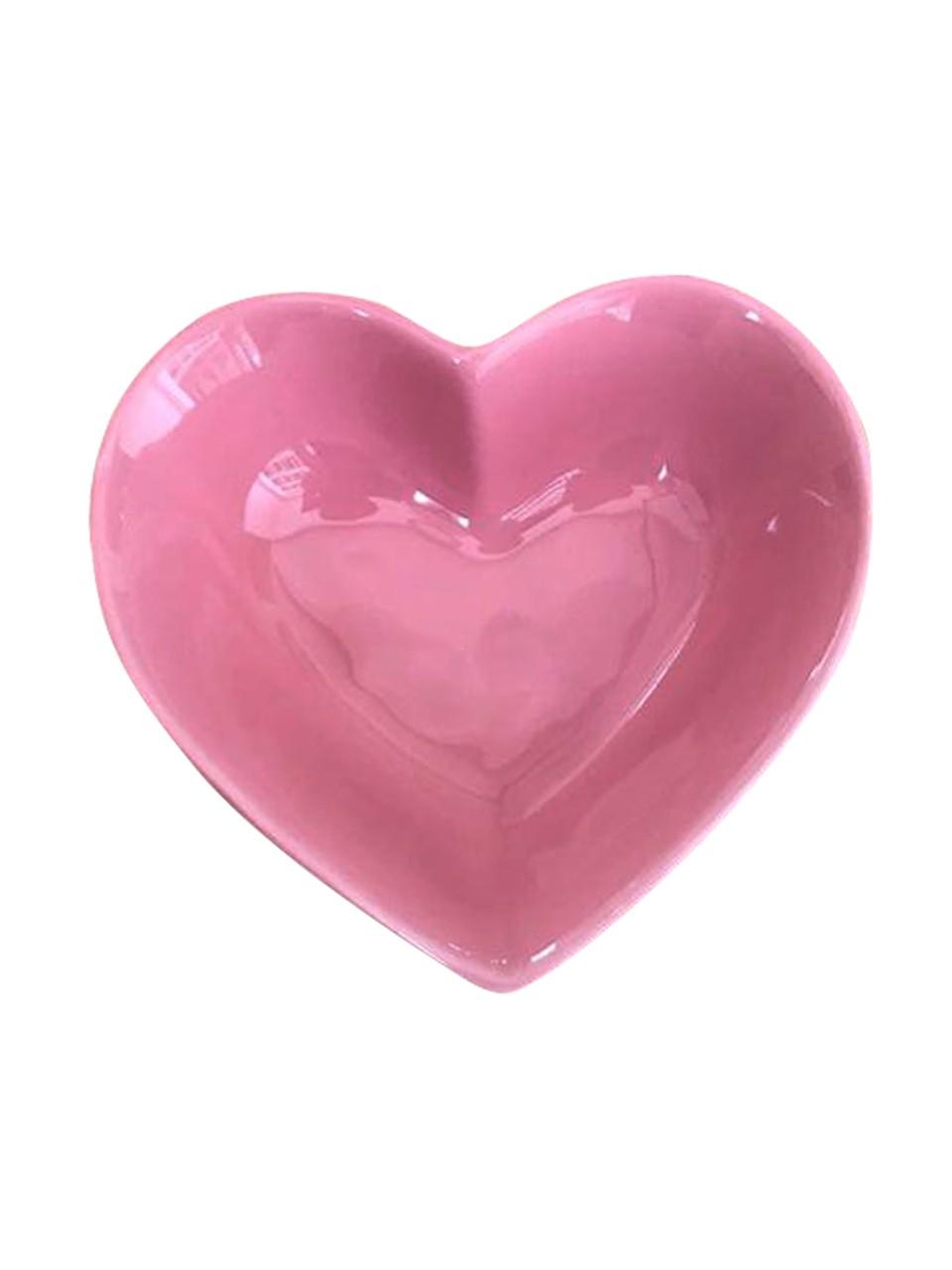 Pote fundo cerâmica formato coração rosa 150ml import. - Cód OC418