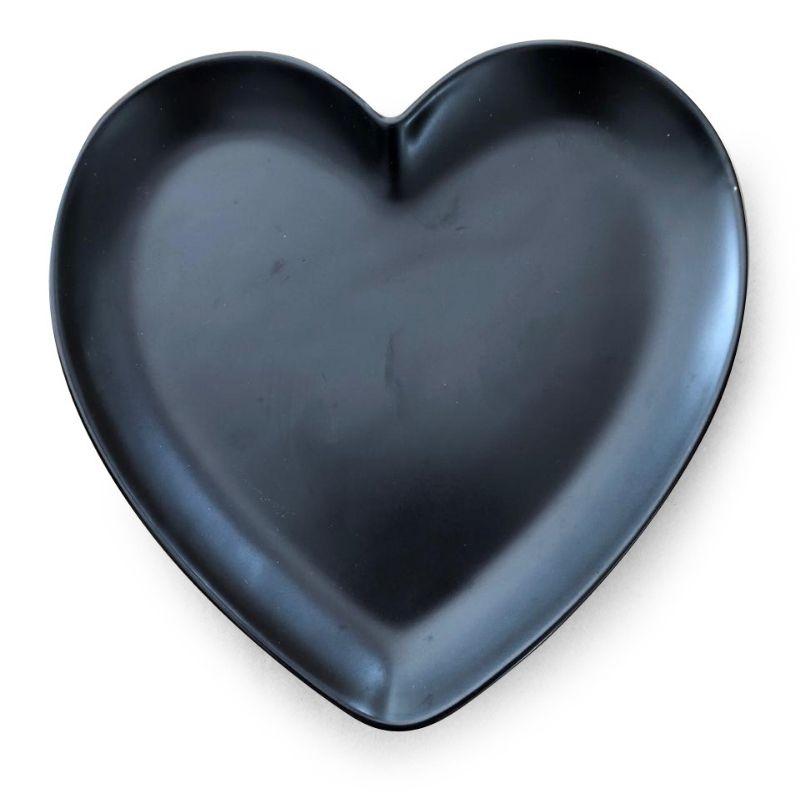 Prato formato coração de sobremesa cerâmica preto fosco - Cód. OC415