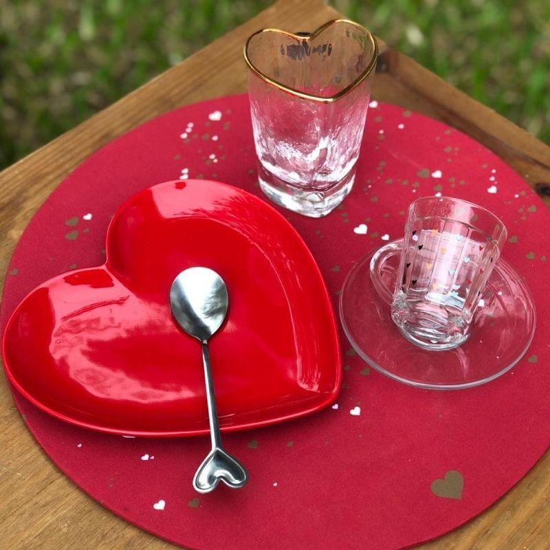 Prato formato coração de sobremesa cerâmica vermelho brilhante - Cód. OC414