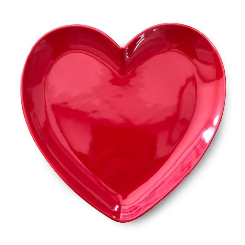 [OUTLET] Prato formato coração de sobremesa cerâmica vermelho brilhante - Cód. OC414OT [OUTLET]