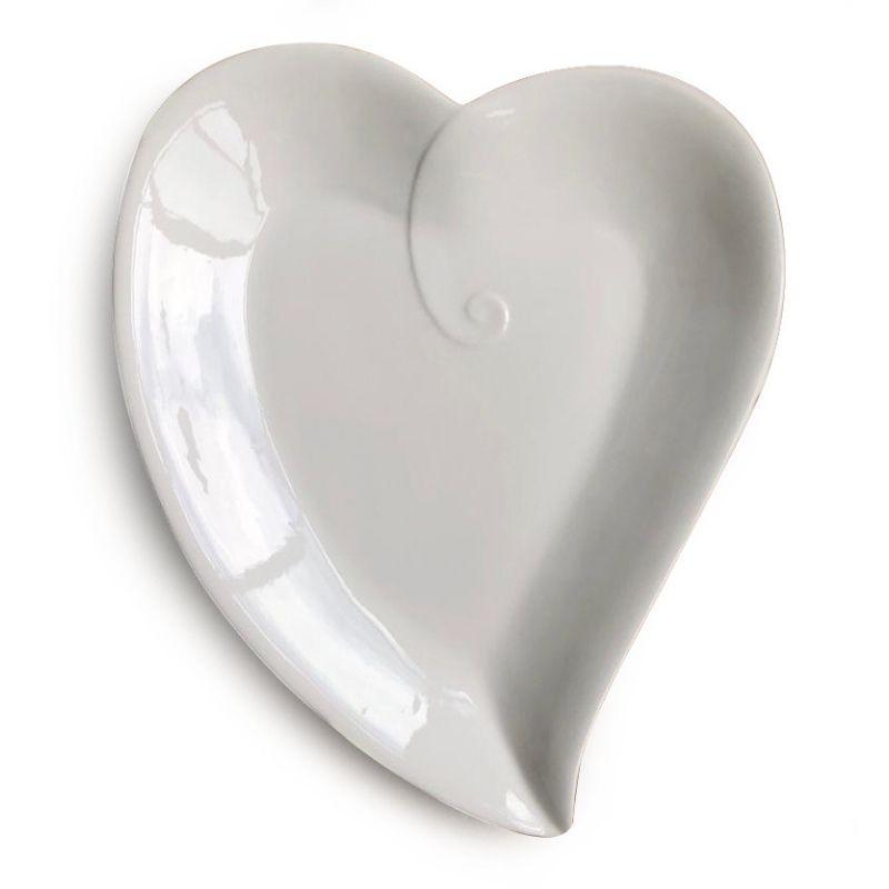 Prato formato coração cerâmica branca mod. nó M - Cód. OC405