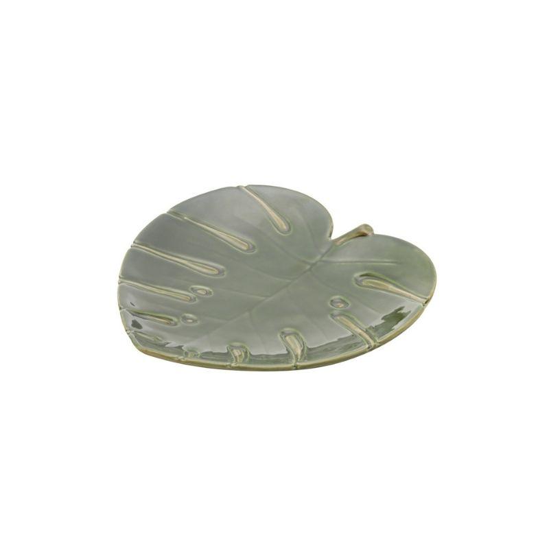 Prato formato coração de cerâmica costela de Adão Leaf  Verde M 22cmx22cmx3,5cm. Cód 4318