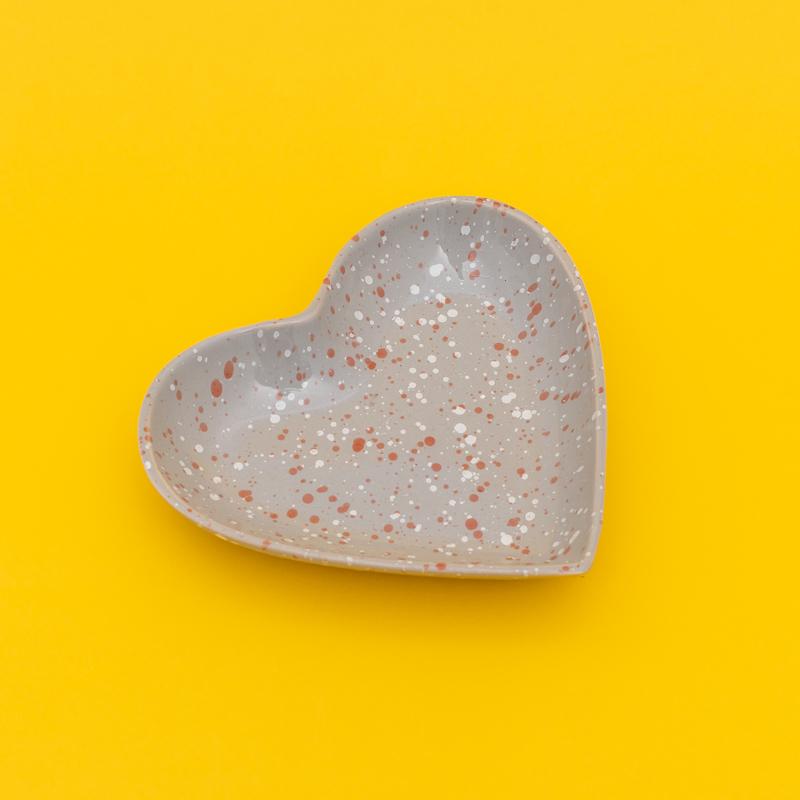 Prato formato coração de cerâmica P estampa de granito cinza - Cód.115-315PC