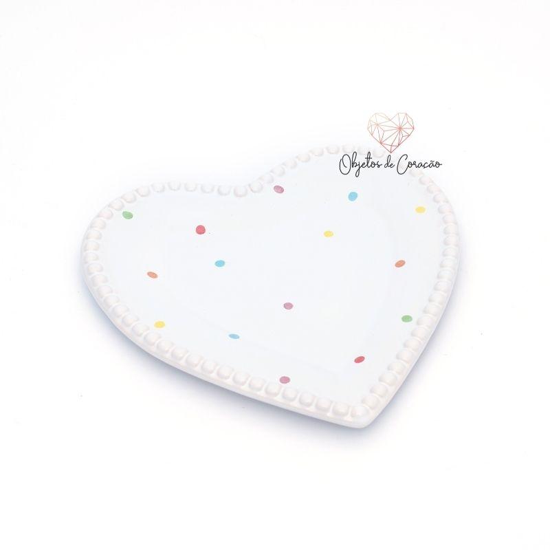 Prato formato coração estampa poá e borda de bolinha - Cód.116-850M
