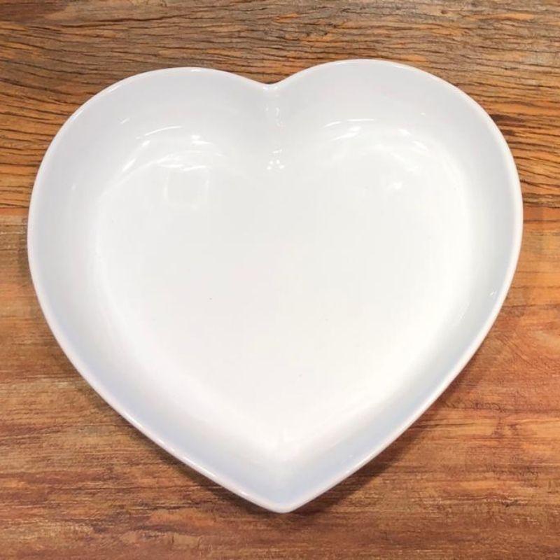 Prato formato coração fundo de cerâmica branco - Cód. 3033