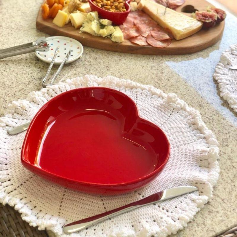 Prato formato coração fundo de cerâmica vermelho - Cód. 3033V