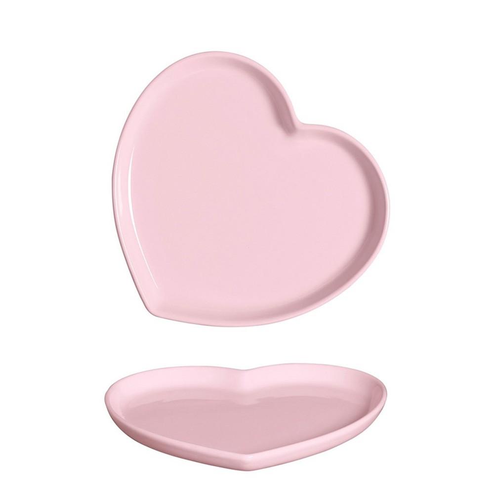 Prato formato coração raso de cerâmica faiança rosa G - UND - Cód.79-336R