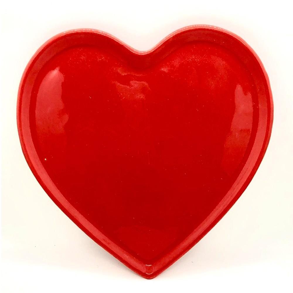[OUTLET] Prato formato coração raso de cerâmica reto vermelho - Cód.ER146RV [OUTLET]