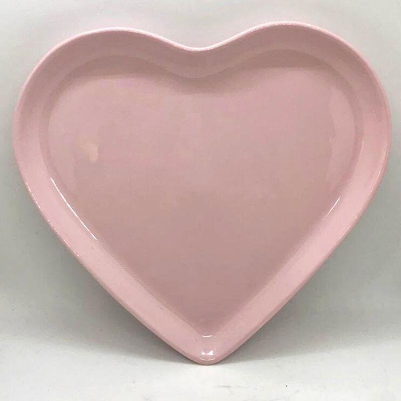 Prato formato coração raso de cerâmica rosa - Cód. ER146R