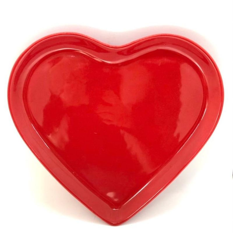 Prato raso de cerâmica vermelho - Cód. ER146V