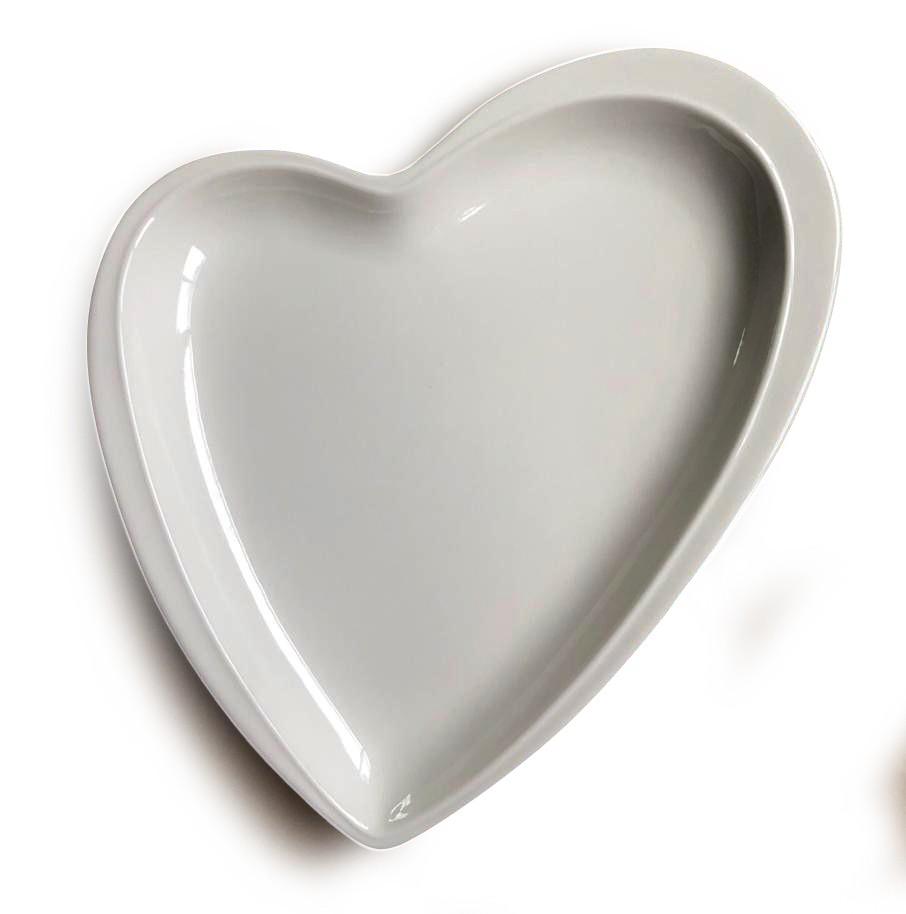 Prato formato coração travessa decorativo de cerâmica branco design M - Cód. OC408
