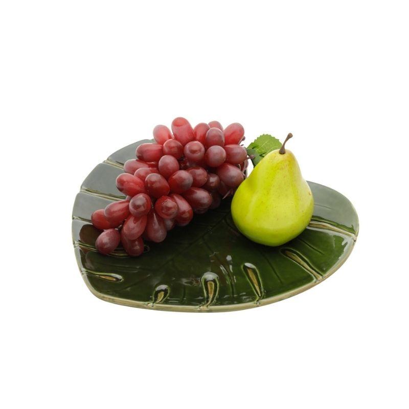 Prato travessa formato coração de cerâmica costela de Adão Leaf Verde G 28cmx26cmx3,5cm. Cód 4330