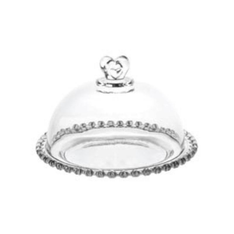Queijeira com tampa ponta coração de cristal e prato com borda coração 19,5x13cm. Cód. 1702