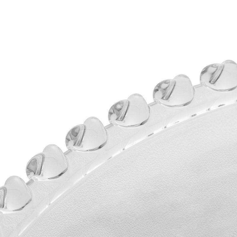 Sousplast de cristal chumbo com borda de coração 32cm diâmetro. Cód. 1506