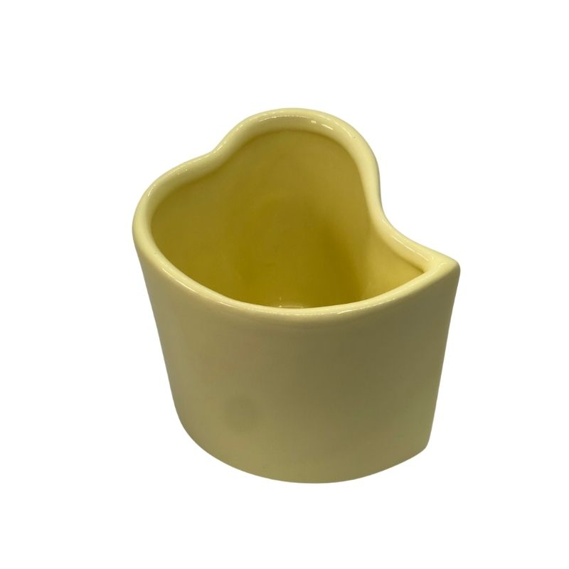 Vaso alto formato coração de cerâmica design amarela bebê - Cód. EROC497