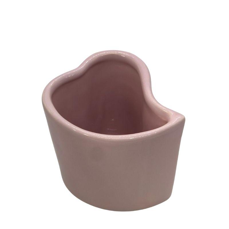 Vaso alto formato coração de cerâmica design rosa - Cód. EROC494