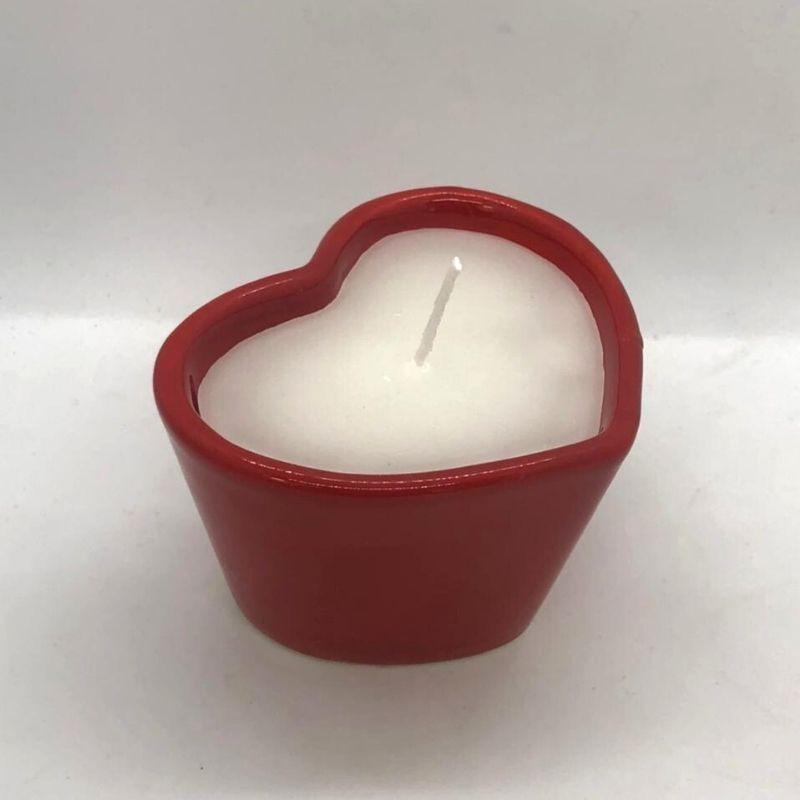 Vaso baixo com vela aromática decorativa de 110 gramas vermelha - Cód. EROC450
