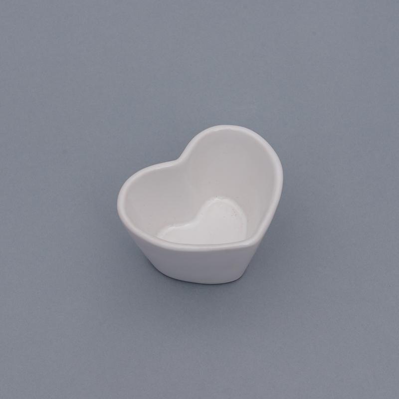 Vaso baixo formato coração de cerâmica design branca - Cód. EROC485