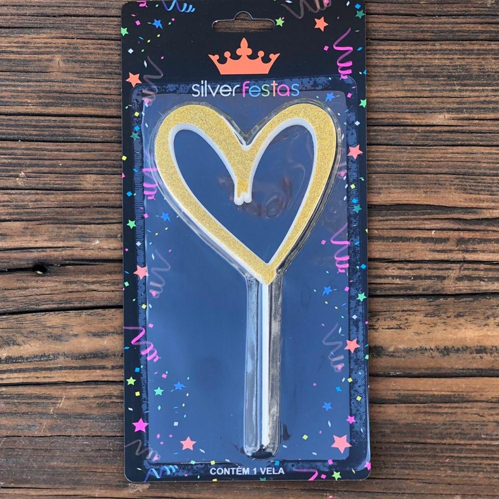Vela formato coração com glitter dourada - Cód V101