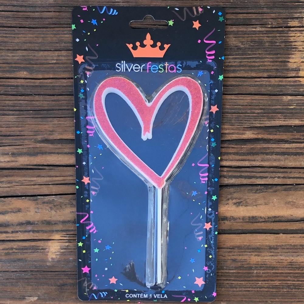 Vela formato coração com glitter vermelha - Cód V102