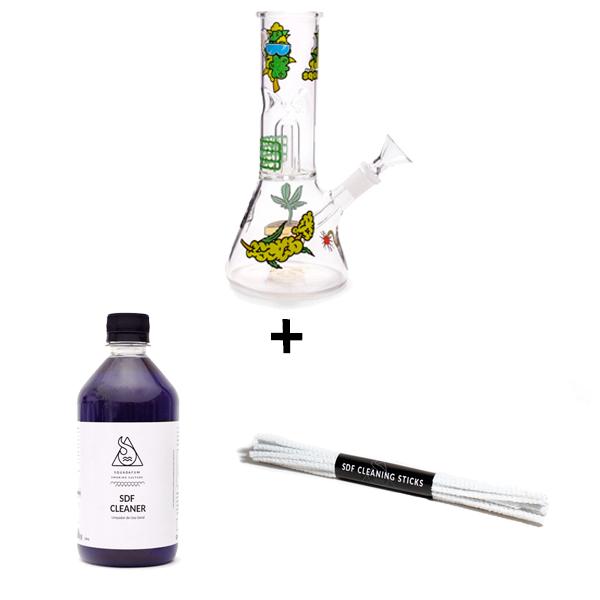 Combo Bong Squadafum Ice Percolator - Stickers Weed + Squadafum Cleaner + Squadafum Cleaning Sticks  - Mr. Fumo