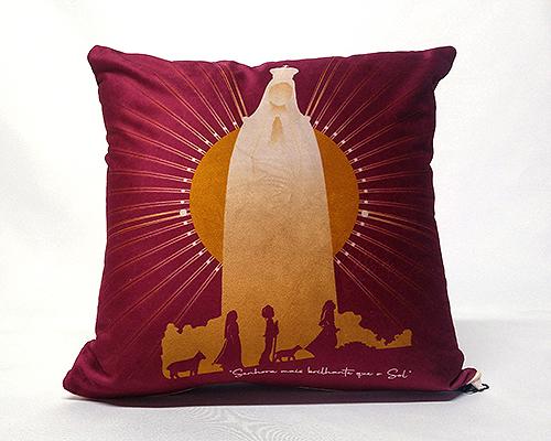 Almofada Quadrada - Nossa Senhora de Fátima Estrela Brilhante - Vinho