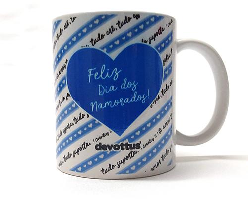Caneca de Porcelana - Dia dos Namorados - O Amor 1Cor13 (Azul)