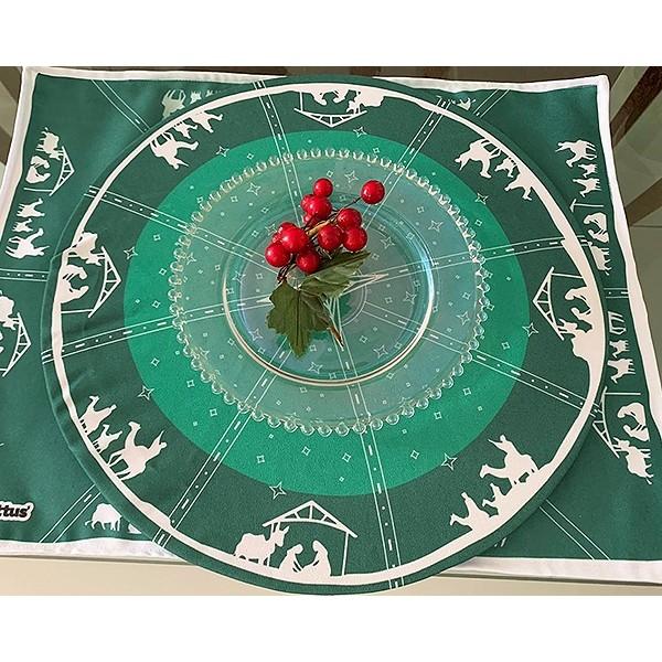 Capa para Sousplat - Natal - Presépio Verde