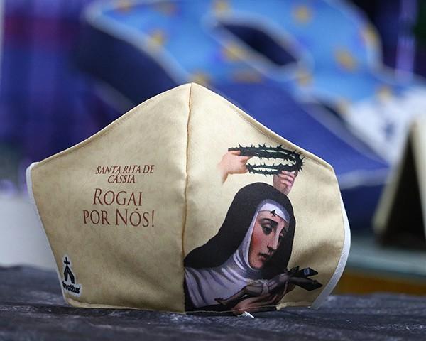 Máscara de Proteção Bico de Pato (EPI) - Rogai por Nós - Santa Rita de Cássia