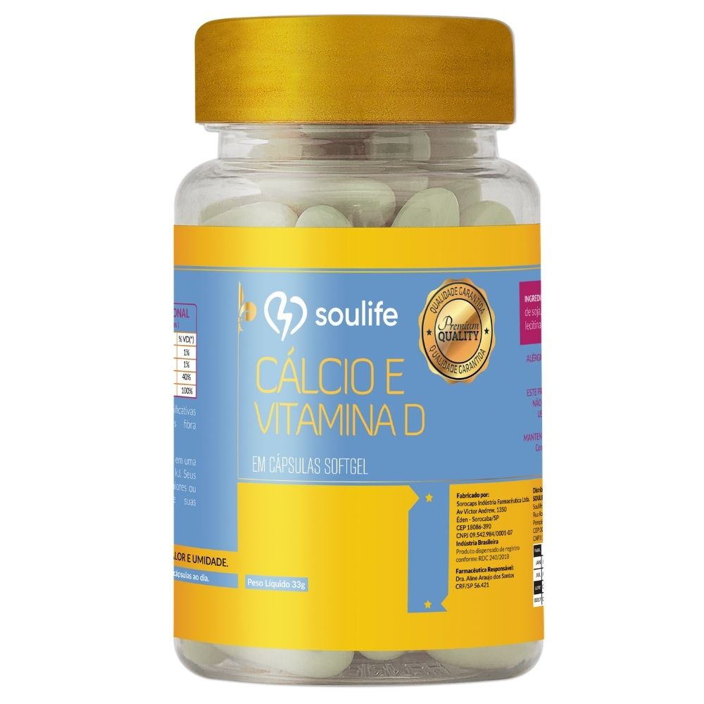 Cálcio e vitamina D - Saúde e fortalecimento dos ossos - 150 cápsulas - Soulife
