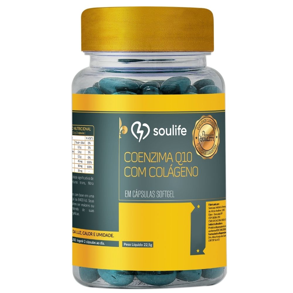 Coenzima Q10 com colágeno - Saúde da pele e aumento de energia - 120 cápsulas - Soulife