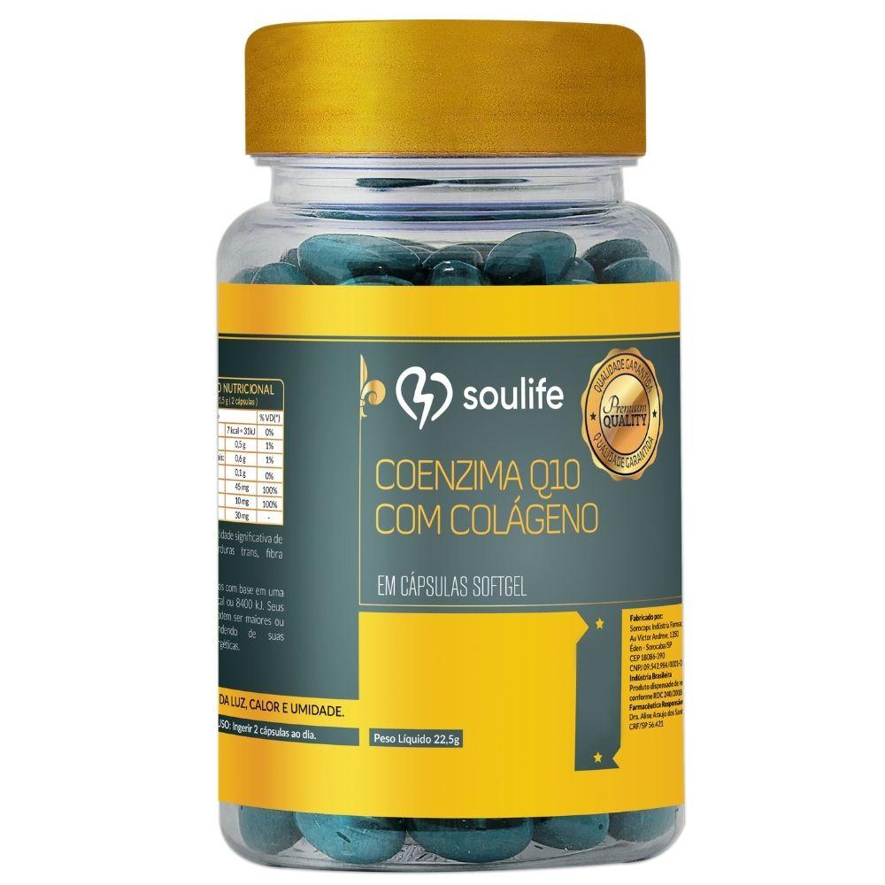 Coenzima Q10 com colágeno - Saúde da pele e aumento de energia - 60 cápsulas - Soulife