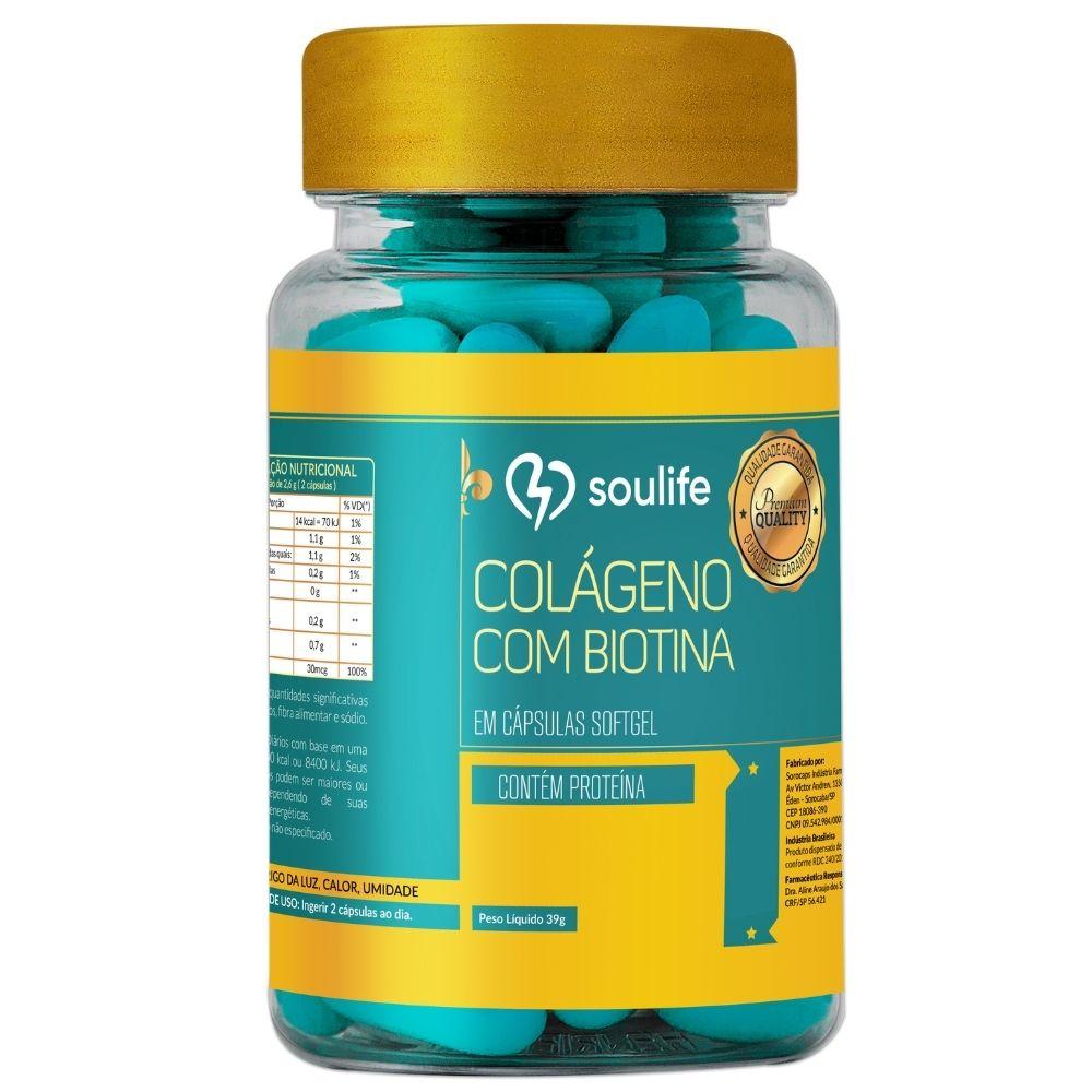 Colágeno com Biotina - Saúde da pele, cabelos e unhas - 60 cápsulas - Soulife