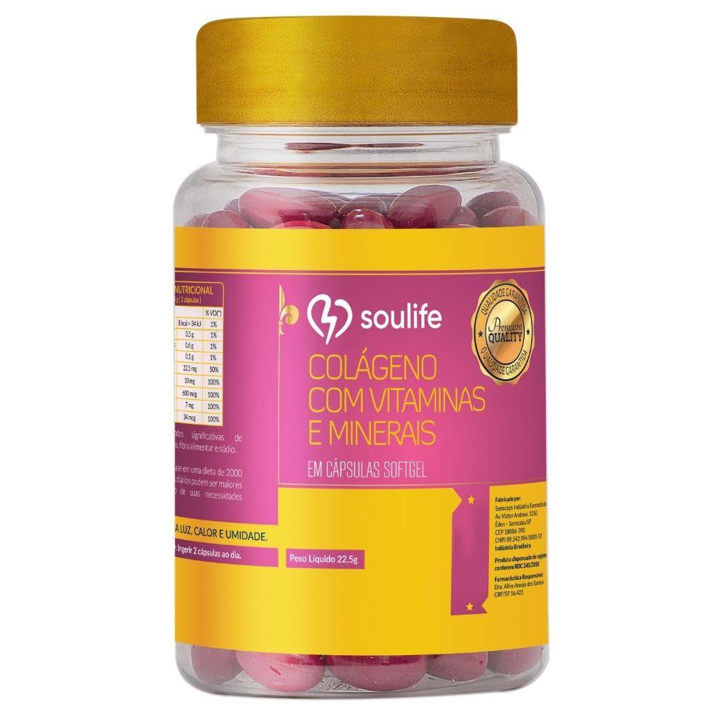 Colágeno com Vitaminas e Minerais - Saúde da pele, antienvelhecimento e antioxidante - 30 cápsulas - Soulife
