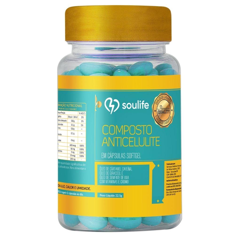 Composto Anticelulite - 150 cápsulas - Tonificação muscular, emagrecimento e antioxidante - Soulife