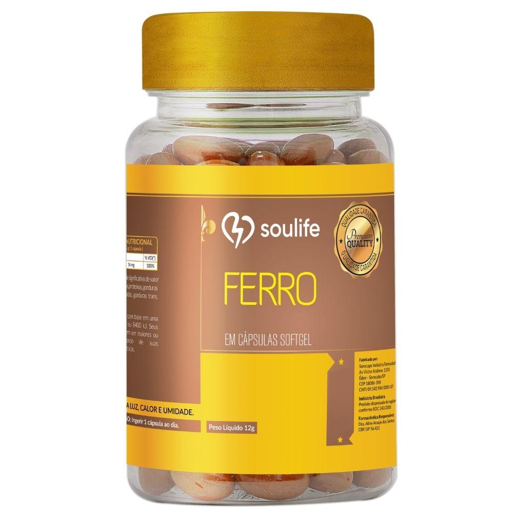 Ferro - 90 cápsulas - Prevenção da anemia e aumento da produtividade - Soulife
