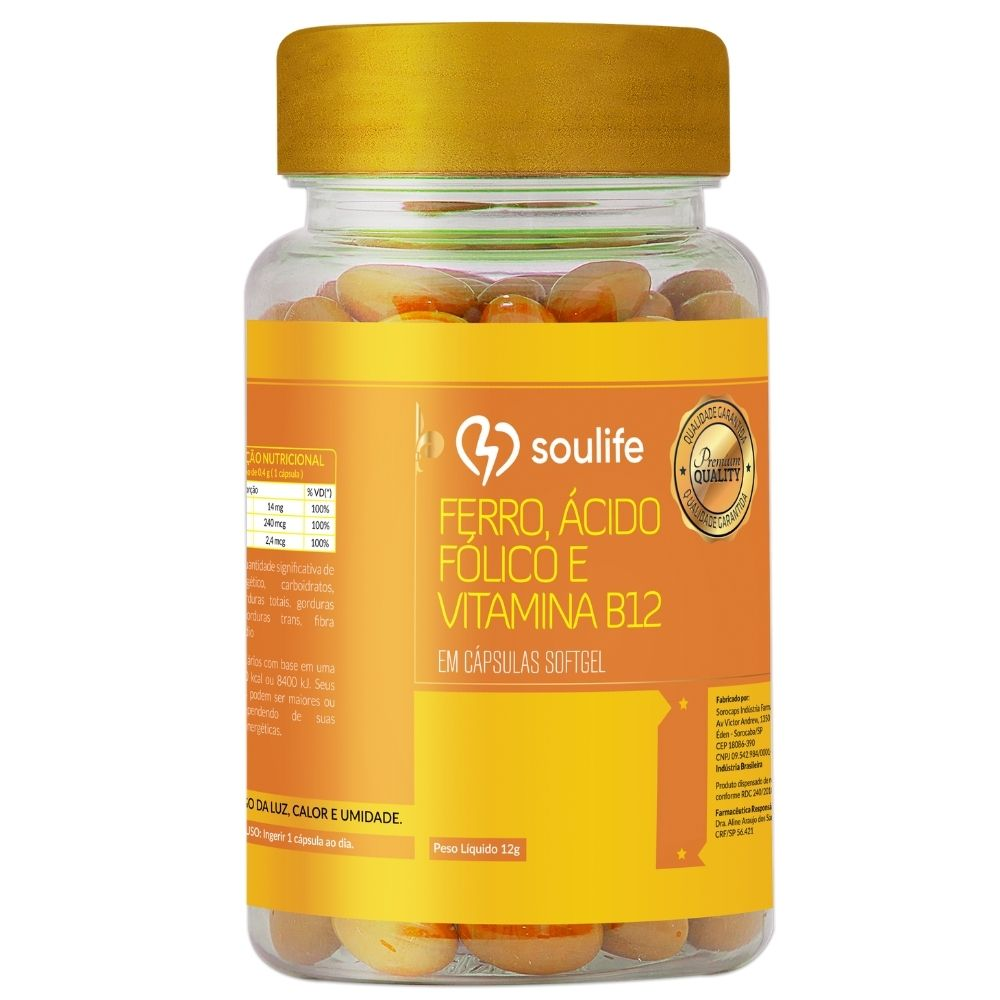 Ferro, Ácido Fólico e Vitamina B12 - 90 cápsulas - Prevenção da anemia e fortalecimento do sistema imunológico - Soulife