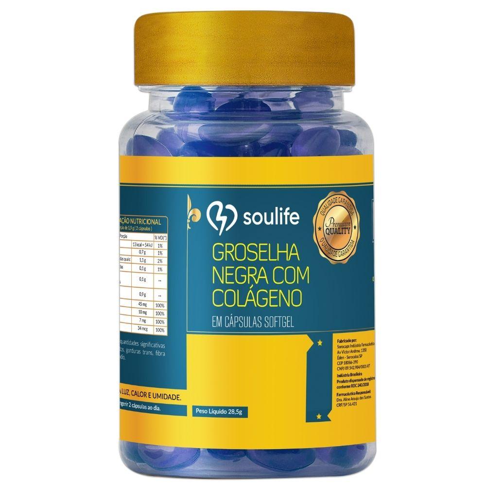 Groselha Negra com Colágeno - 60 cápsulas - Anti-inflamatório, antioxidante e saúde da pele - Soulife