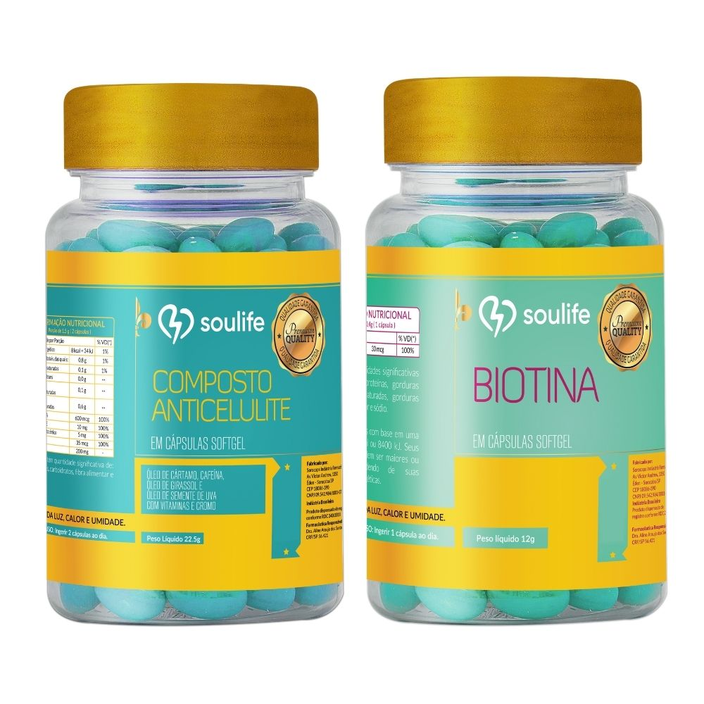 Kit Composto Anticelulite 120 cápsulas + Biotina 120 cápsulas - Soulife  - SOULIFE