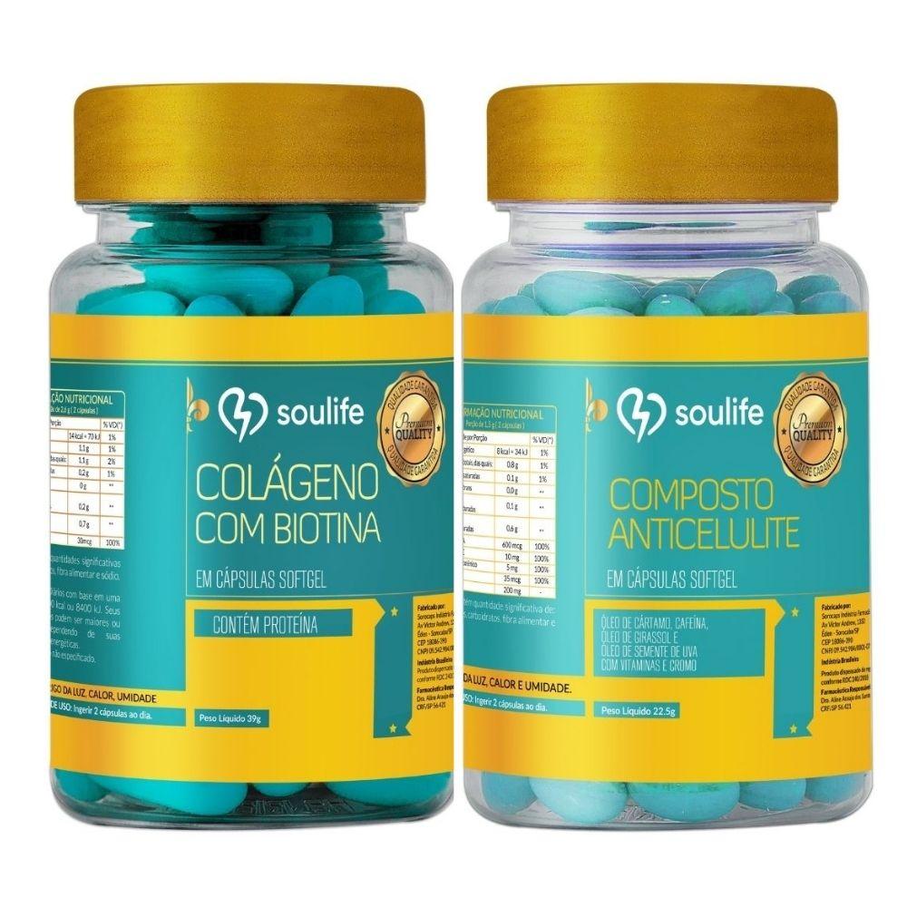 Kit Composto Anticelulite 120 cápsulas + Colágeno com Biotina 120 cápsulas - Soulife  - SOULIFE