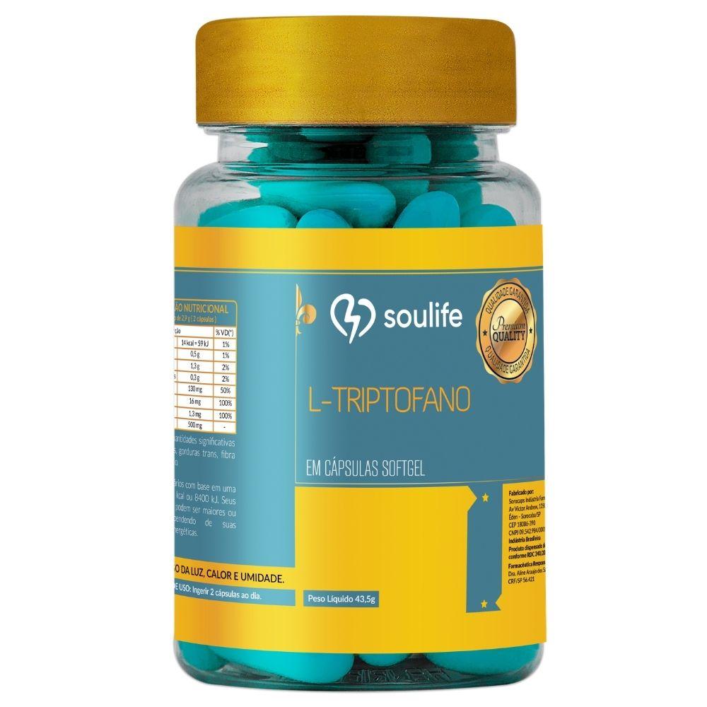 L-Triptofano - 120 cápsulas - Melhora do sono, humor, ansiedade e aumento do bem-estar - Soulife
